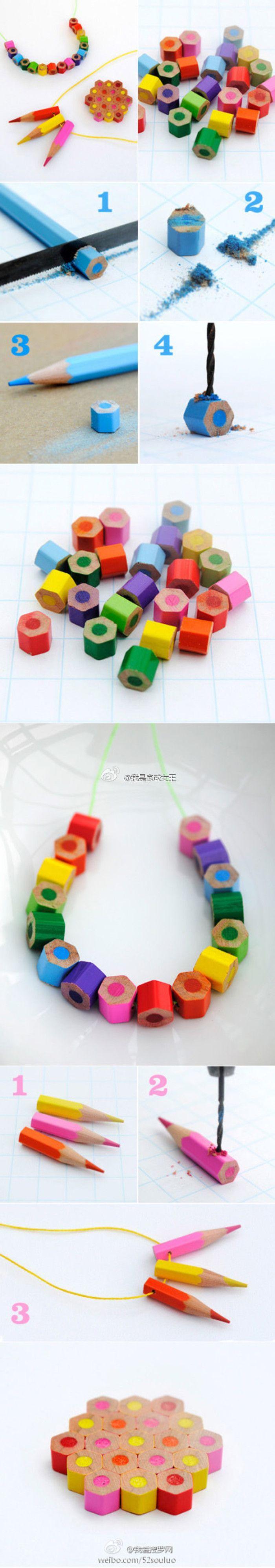 废旧铅笔再利用,DIY彩色铅笔项链哦~ 个性又特别呢~而且还能废物利用~