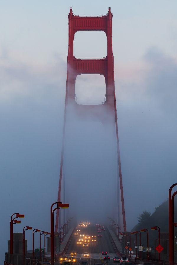 Golden Gate bridge in the fog at