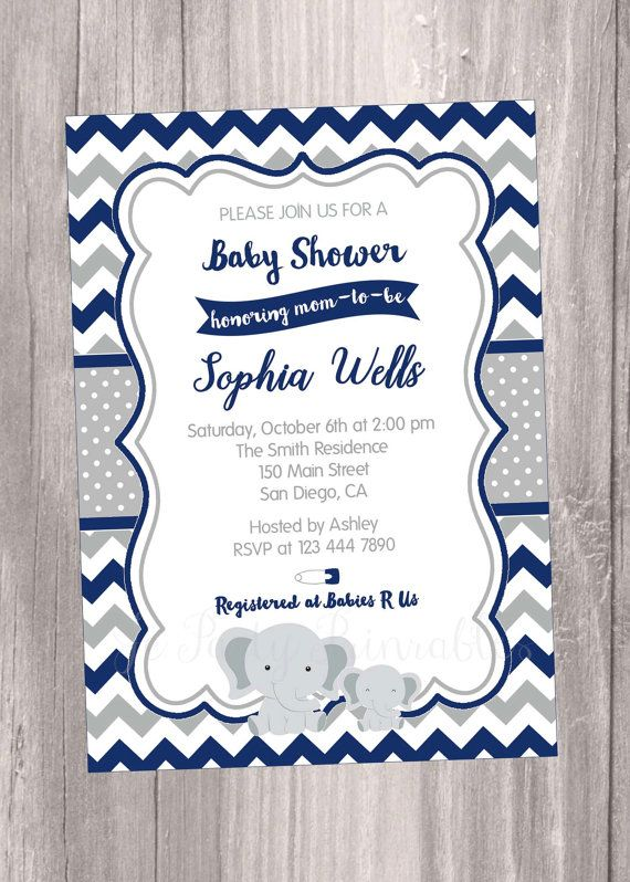 Elephants Baby Shower Invitation Navy blue and grey,  Navy Blue and grey chevron Invitation, Peanut baby shower Invitation. Printable