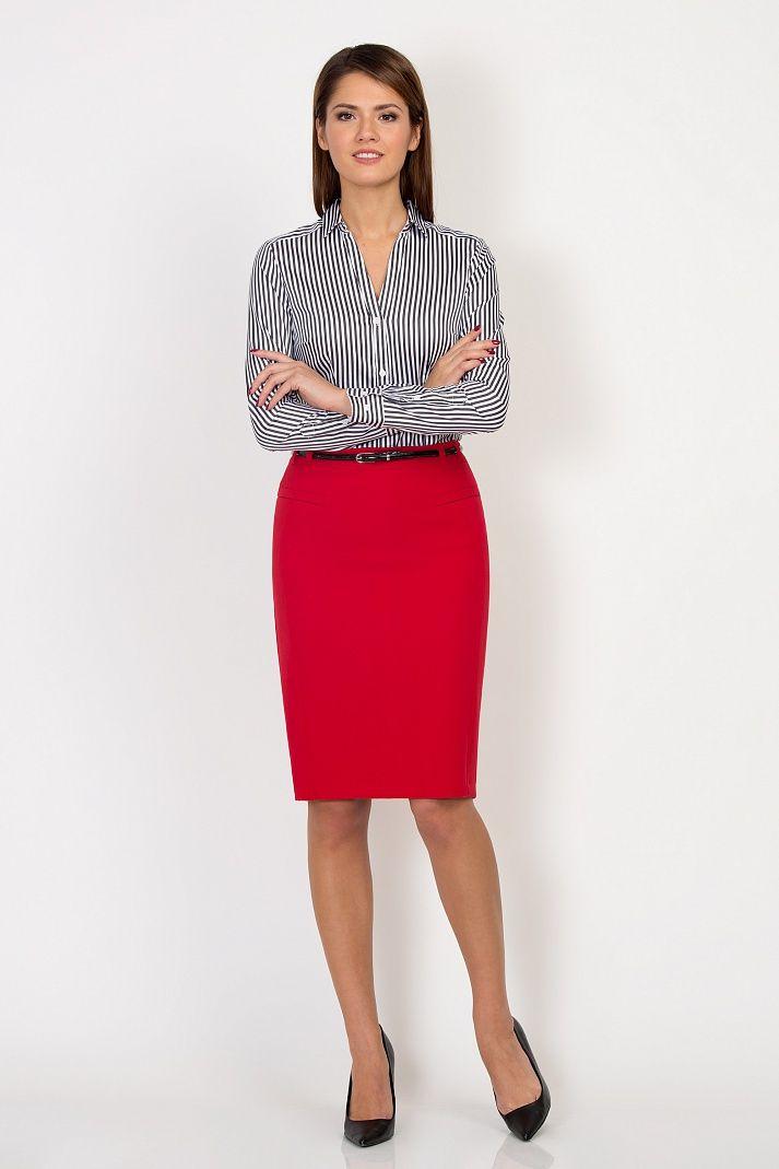 Красная юбка для учёбы и работы Emka Fashion 559-rostislava