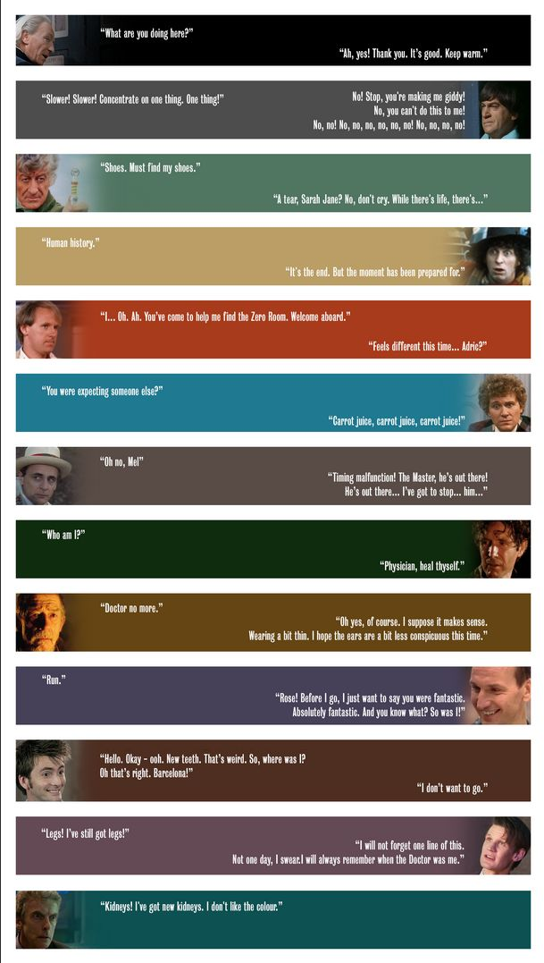 The first & last lines of each Doctor (click through to website for larger version)