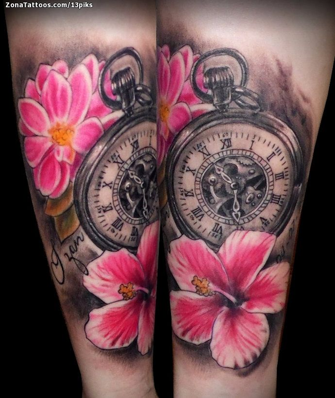 Tatuaje De Relojes Flores Tatuajes Tattoos Watch Tattoos Y