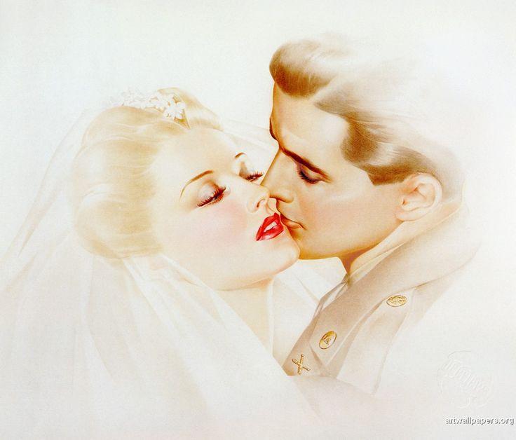 Gorgeous wedding illustration by Alberto Vargas.