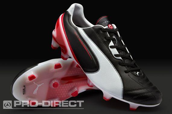 Puma Football Boots - Puma King SL FG - Firm Ground - Soccer Cleats - Black-White-Ribbon Red