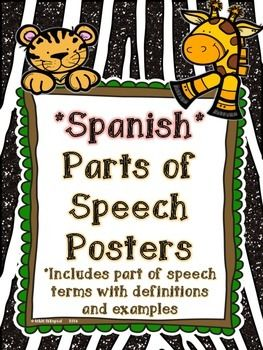 These cute jungle theme posters feature 8 parts of speech in SPANISH!!!!  -Sustantivo -Verbo -Pronombre -Adjetivo -Adverbio -Conjunción -Interjección -Preposición  The font is clear and easy to read. Definitions and examples are included along with suggestions on how to use these in the classroom and in student journals.   These go great with my SPANISH Parts of Speech Matching Memory Game Jungle Themed