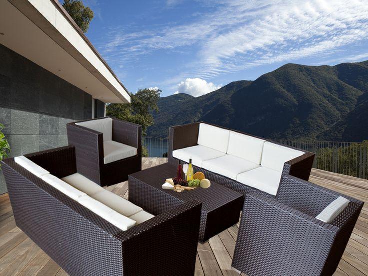 Brown Bella 8 Seater Wicker Outdoor Furniture Lounge