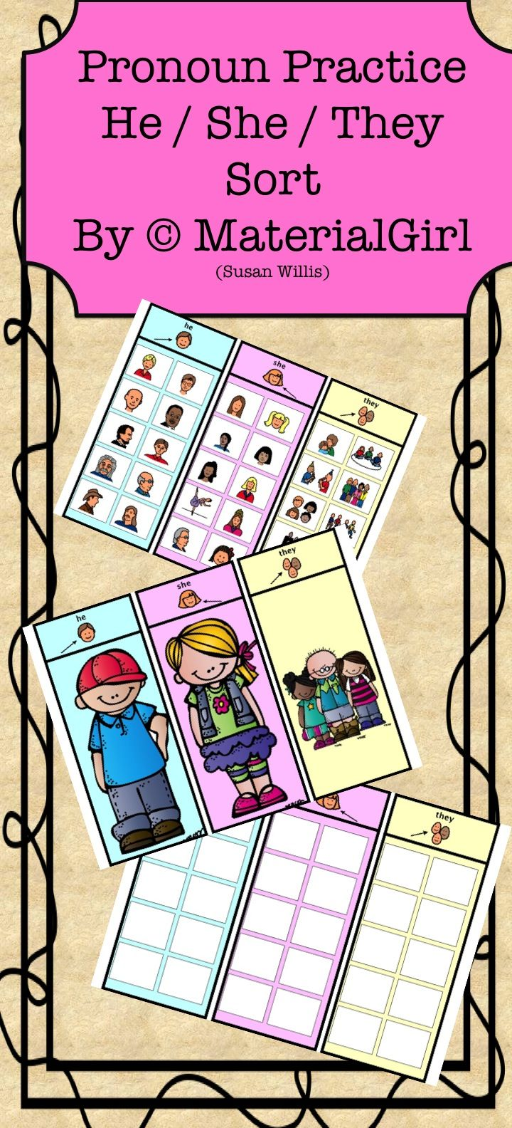 Pronoun Practice --- HE / SHE / THEY Sorting Activity with Boardmaker icons. I use this activity as a speech therapy activity for those with language delays, autism, and learning handicapped. #autism #speechtherapy #specialed #specialeducation #RSP #grammar #pronouns