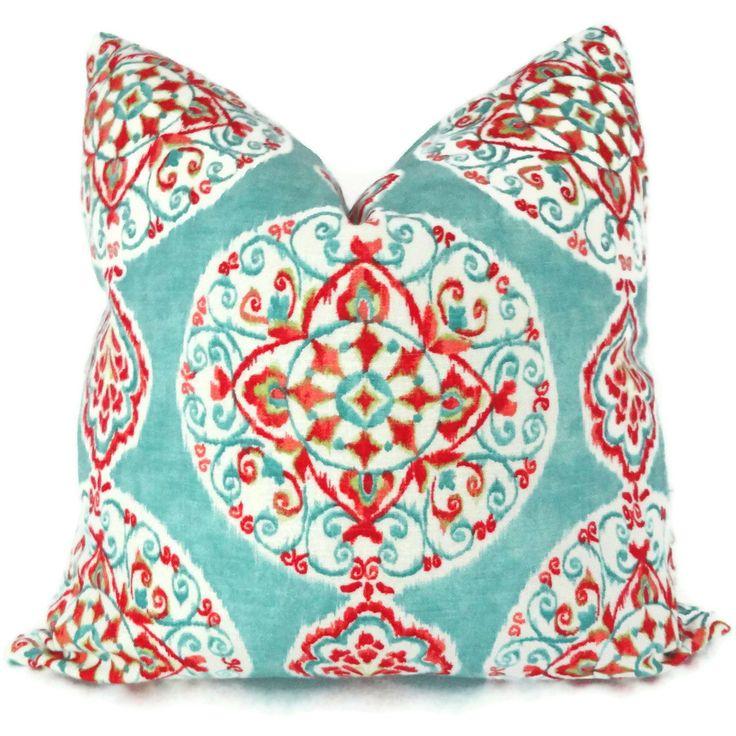turquoise and orange suzani decorative pillow cover toss pillow throw pillow