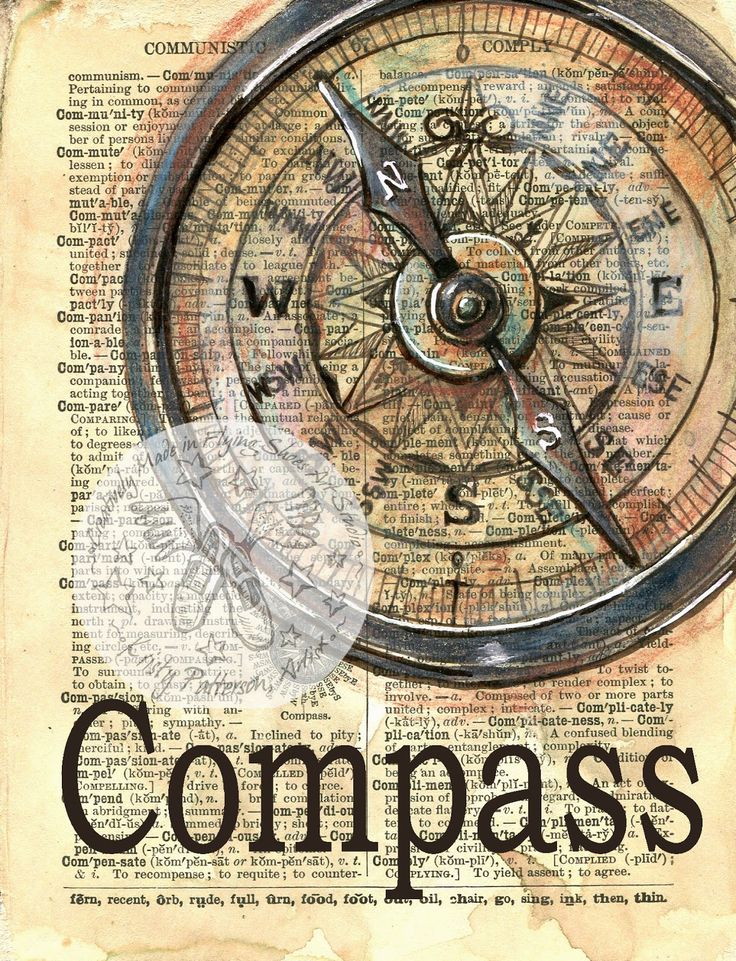 Antique Compass mixed media drawing on an 1890's dictionary page - flying shoes art studio