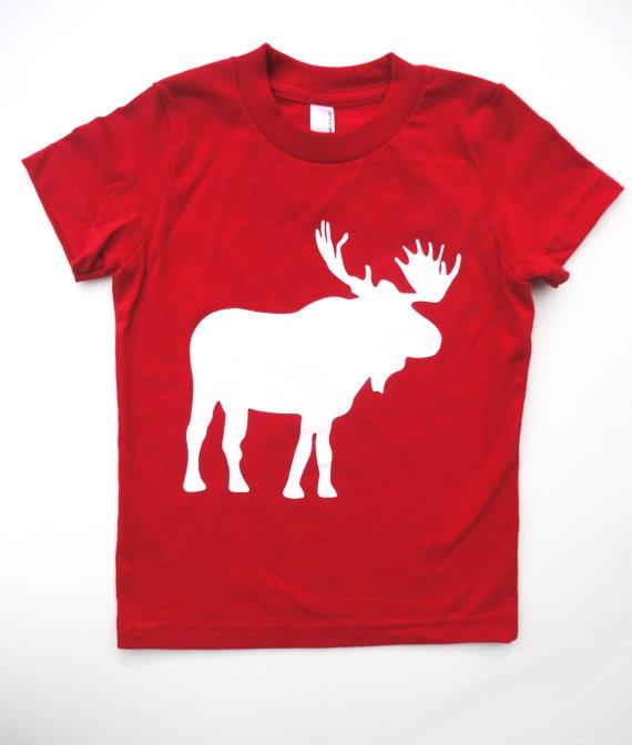 Kids Tshirt Moose print Canada Day Shirt by pineapplepetekids, $20.00