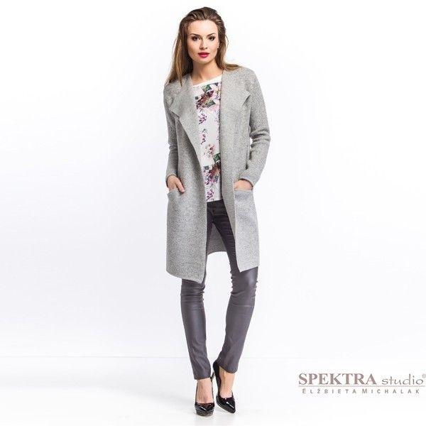Długi sweter z kieszeniami, płaszcz - Spektra Studio