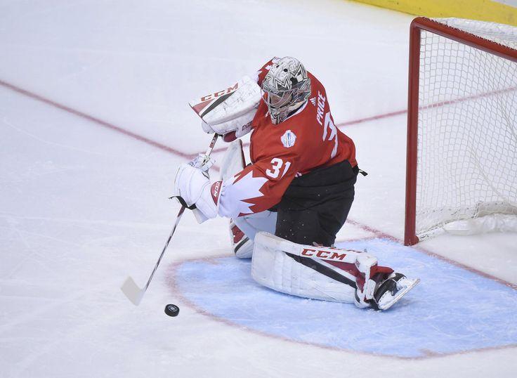 Kanadský brankář Carey Price předvedl v prvním finále proti Evropě řadu těžkých zákroků