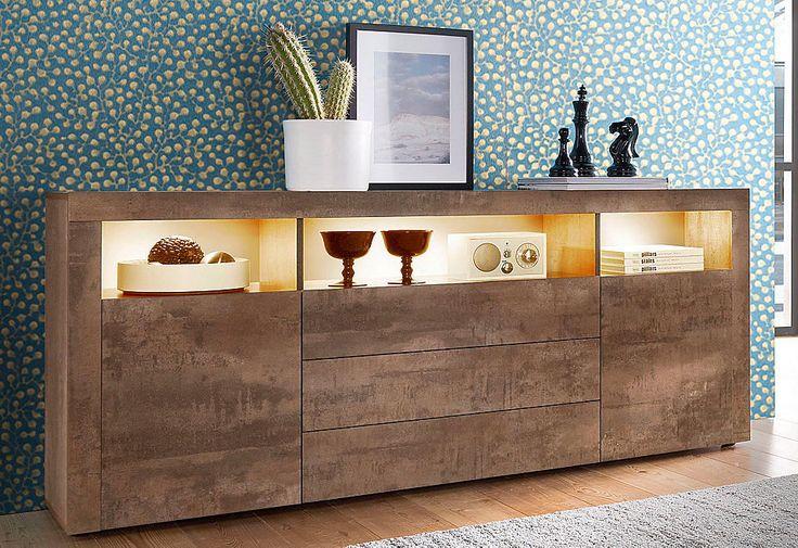Sideboard, Breite 166 cm für 229,99€. 2 Türen, 3 Schubkästen, Dekorative Rahmenoptik, Moderne Trendfarben, Mit Push to Open-Funktion bei OTTO