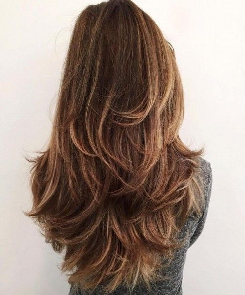 Long Layered hairstyles in diffrent style like v shaped end curls with mid brown hairs color