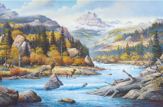 Deer mural elk country wildlife wall mural wall for Deer landscape wall mural