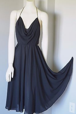 WAYNE CLARK Aline Marelle VTG Halter Black Chiffon Evening Dress Gown Size 8