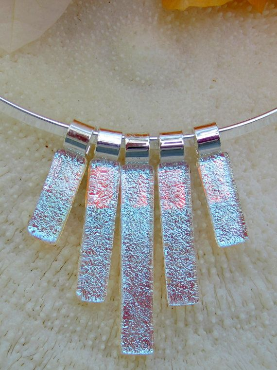 Silver dichroic fused glass Statement Necklace by FoxWorksStudio