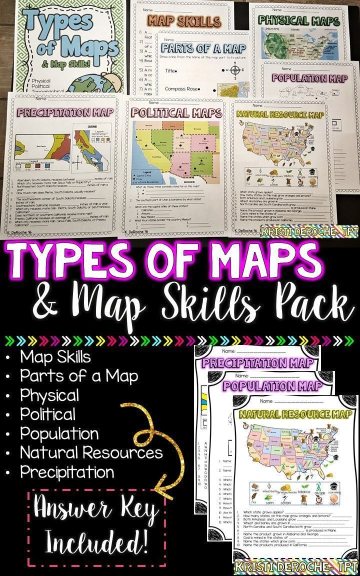 Types of Maps and Map Skills Pack! Great activity for the beginning of the school year to assess students map skill knowledge! Physical, Political, Population, Natural resources, and Precipitation Maps! Answer key included!