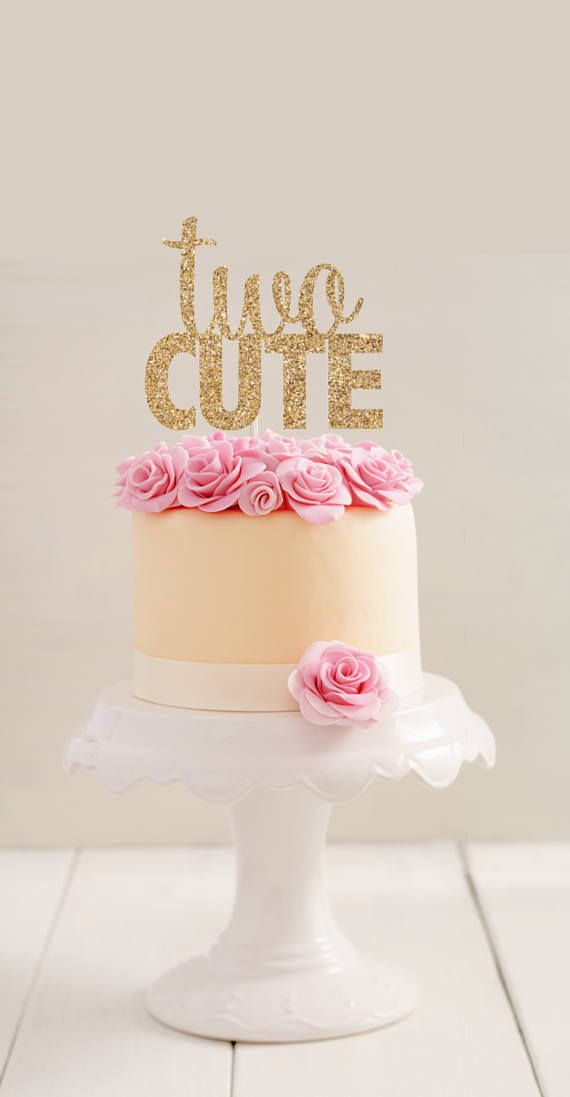 Two Cute Cake Topper Second Birthday Cake Topper Two Cute