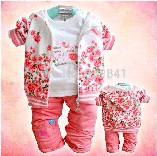 girls clothes coat t-shirt pants cotton 100% infant suits http://mobwizard.com/product/3pcsset-2015-new-fl32242129588/