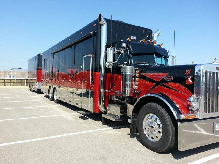 Black and red peterbilt rv with matching trailer campers for Peterbilt motor coach for sale