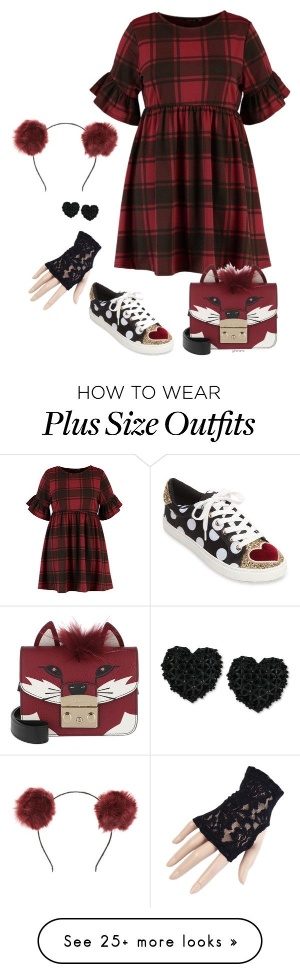 """Foxy- plus size"" by gchamama on Polyvore featuring Tasha, Betsey Johnson, Furla and Black"