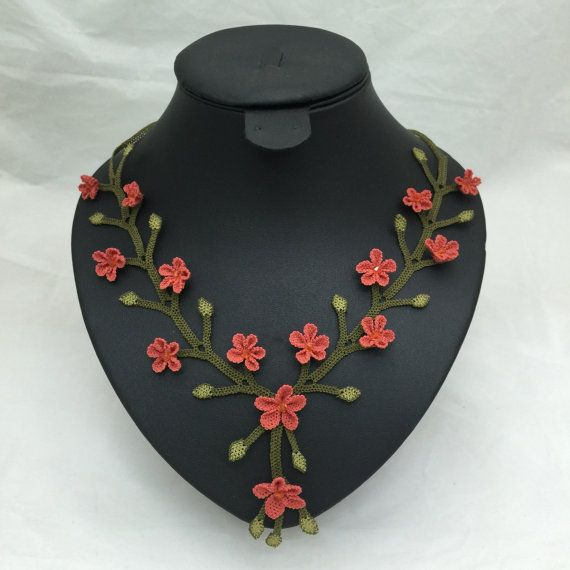 "Authentic Anatolian Needle Lace Pure Silk ""Gonul Celen"" Necklace - Turkish Oya"