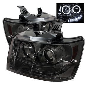 Chevy Suburban | Chevy Suburban | Chevy Avalanche Smoke LED Halo Projector Headlights | Spyder Auto | Pair | Fits Avalanche, Suburban, Tahoe Years 2007, 2008, 2009, 2010, 2011, 2012, 2013, 2014.