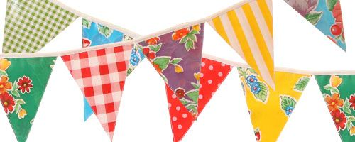oilcloth bunting - so great for outdoors! From Urban Baby