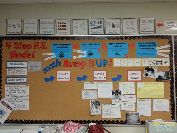 4-Step Problem Solving Bump It Up Wall with student work examples...in progress!