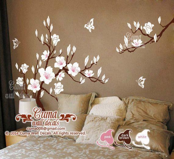White Cherry Blossom Vinyl Wall Decals Tree Office Wedding Wall Murals  Nursery Wall Sticker   Huge Magnolia Z180 Cuma