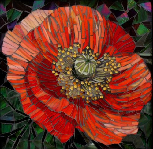 "Large Mosaic Poppy in a small glass mosaic piece. 14"" x 14"""