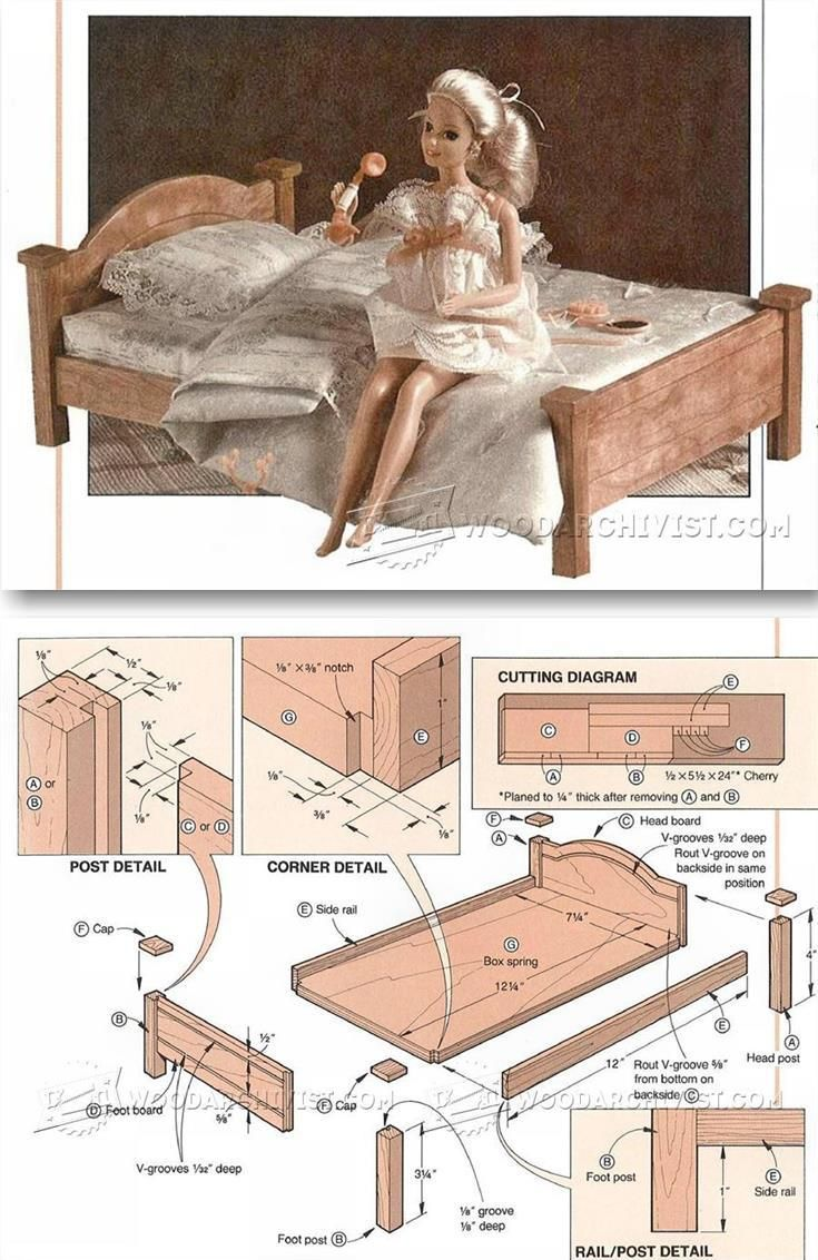 Doll Bed Plans - Children's Wooden Toy Plans and Projects | WoodArchivist.com