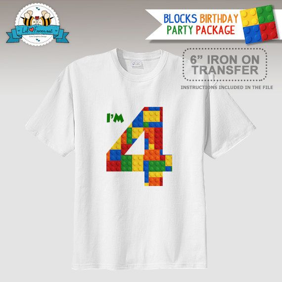 Colorful Building Block Birthday Party T Shirt Iron On