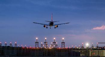 A plane makes its final approach.
