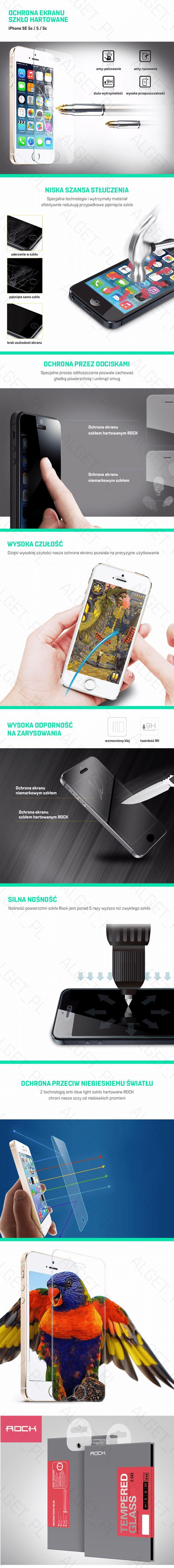 Przedmiotem aukcji jest szkło hartowane marki ROCK na wyświetlacz telefonu iPhone 5/5S/SE. Warstwa szkła hartowanego ma zaledwie 0,3mm grubości oraz cechuje go bardzo wysoka twardość (9H) zapewniając dodatkową ochronę dla Twojego telefonu. Idealna przezroczystość szkła nie zmienia wyświetlanego obrazu pozostawiając jasny i żywy obraz oraz nie powoduje negatywnego wpływu na działanie dotyku. Szkło jest idealnie dopasowane oraz posiada zastosowaną technologię Anti-Blue light, która chroni…