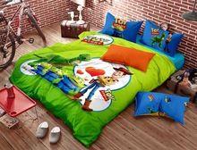 История игрушек детей постельных принадлежностей мультфильм одеяло doona пододеяльник хлопок простыни белье спальня детей синий зеленый 4 шт.(China (Mainland))