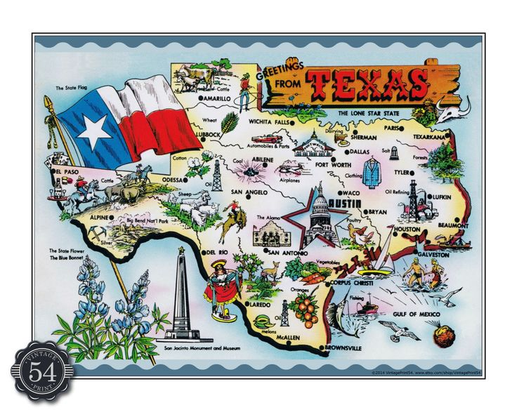 texas caricature map vintage texas map postcard by vintageprint54