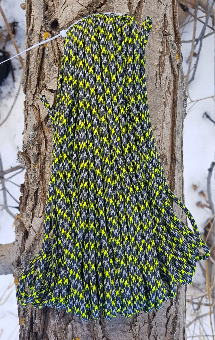 550 Paracord Type III 7 Strand Nylon Parachute Cord Made in the USA Ninja Warrior Neon yellow by BrodsParacord on Etsy