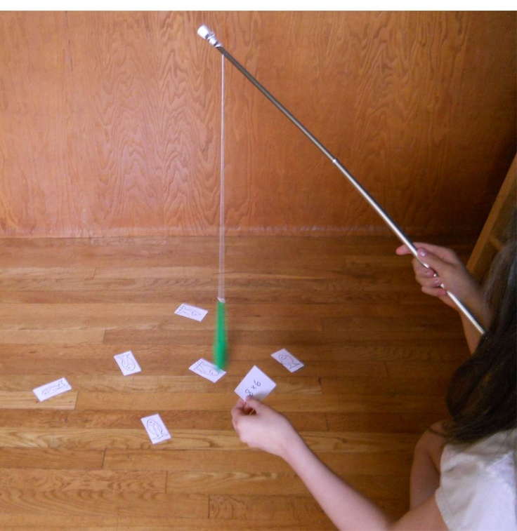 """""""Going Fishing"""" simply means using a stick with a string, to which a magnet has been attached. The """"fish"""" are 3x5 cards on the floor with a paper clip on them. We've also fished up math problems, the names of states which must then be colored in on a blank map; colors; latin root words matched to their meanings or derivatives. You name it. This idea basically takes ANY lesson and makes it more fun if the answers lie on the bellies of the fish swimming around on the floor."""
