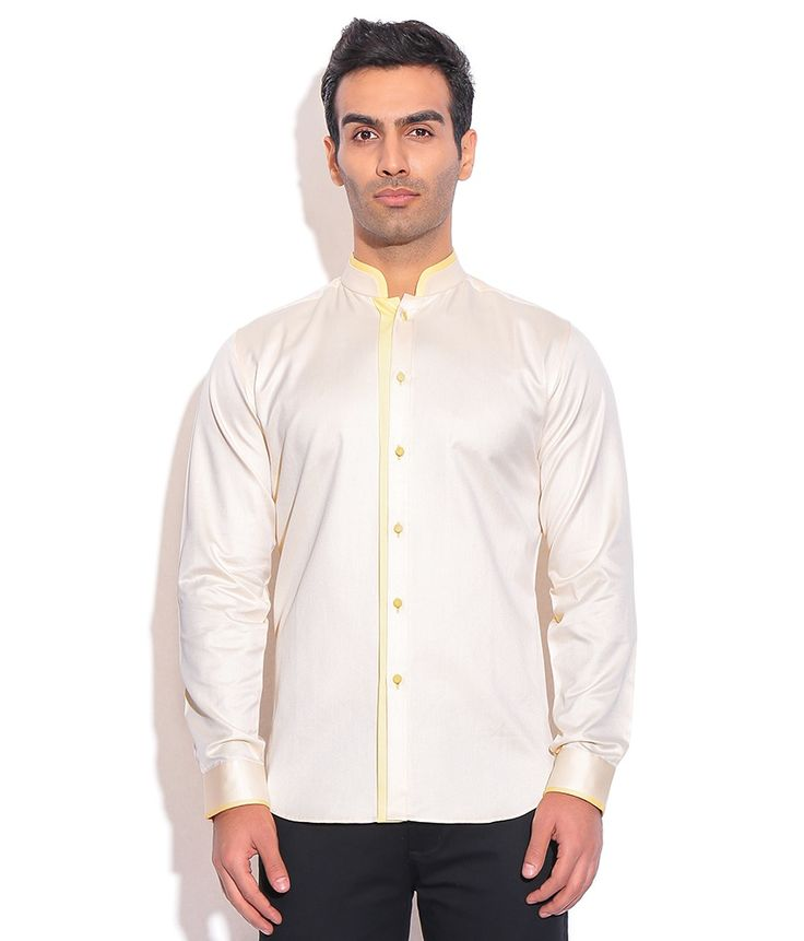 Ashish N Soni Light Yellow Cotton Chinese Collor Shirt, http://www.snapdeal.com/product/designer-wear-light-yellow-cotton/1357428342