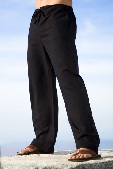 Island Importer - Linen Riviera Pant - The one you've been looking for: Our first ever men's linen pant.  These casual, loose-fitting pants are ideal for your groomsmen and great paired with any of our men's linen shirts.  Features a drawstring waist, side and back slit pockets, and stitching detail on cuffs.  Relaxed fit; perfect for your laid-back beach or destination wedding!