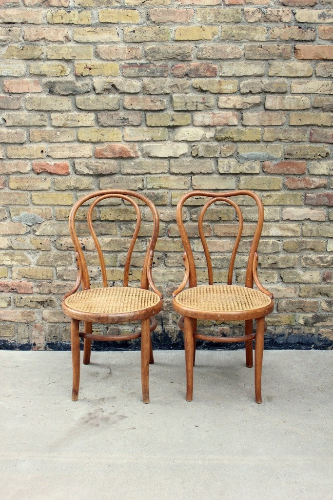 Antique Thonet Bentwood Chairs // Pair Of Wood Cafe Chairs // Turn Of The  Century Cane Seat Chairs | Bentwood Chairs And Wood Cafe