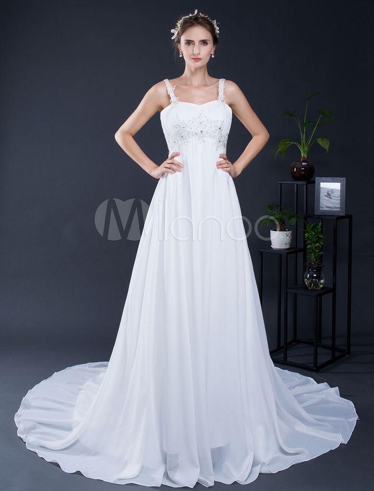 Sposa in Abito pizzo perline Strapls Corte dei treni abito da sposa a-line