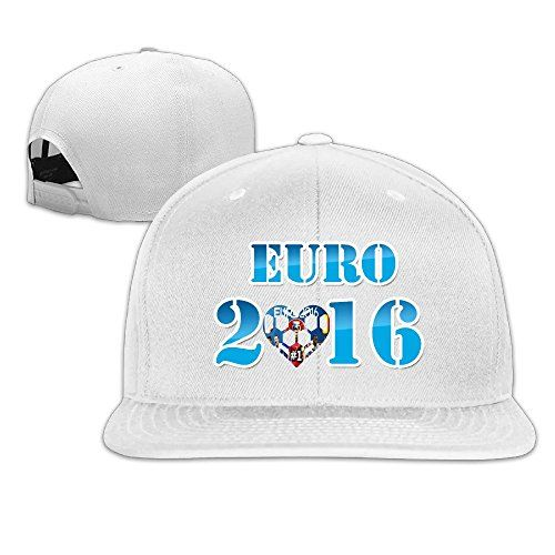 Kim Lennon Euro 2016 Football Custom Sun Protection Flat Brim Baseball Hats Cap White ** You can find out more details at the link of the image.  This link participates in Amazon Service LLC Associates Program, a program designed to let participant earn advertising fees by advertising and linking to Amazon.com.