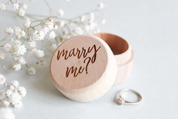 Wooden Proposal Ring Box, Engagement Ring Box,
