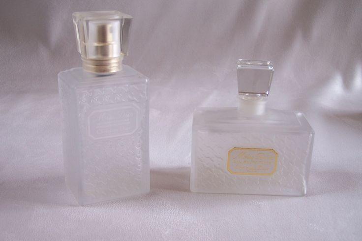 2 Flacons vides Miss Dior de Christian Dior Eau de toilette et déodorant flacons givrés motif pied de poule de la boutique MyFrenchIdeedAntique sur Etsy