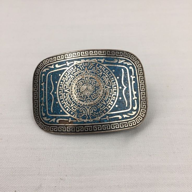 Taxco Sterling Silver Belt Buckle Mayan Calendar Crushed Turquoise .925 #Taxco