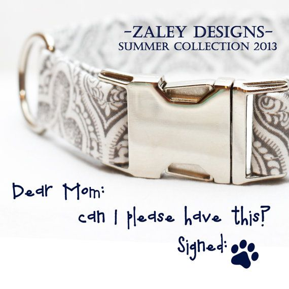 Dog Collar with Gray and White Damask & Metal by ZaleyDesigns, $25.00