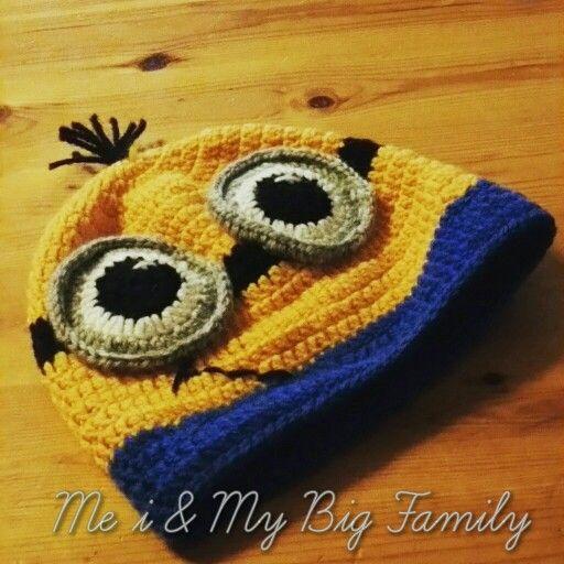 Virkad dumma mej mössa, despicable me, crochet Sportsragg   minion